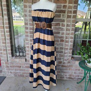 Body Central Strapless Belted Maxi Dress size S
